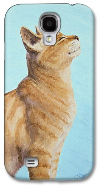 Orange Tabby Paintings Galaxy S4 Cases - Brushing the Cat Galaxy S4 Case by Crista Forest