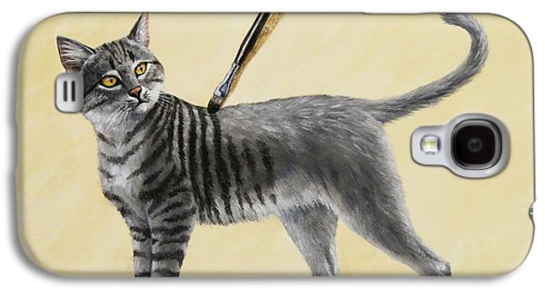 Gray Tabby Galaxy S4 Cases - Brushing the Cat - No. 2 Galaxy S4 Case by Crista Forest