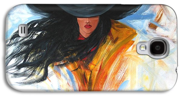 Girl Galaxy S4 Cases - Brushstroke Cowgirl Galaxy S4 Case by Lance Headlee