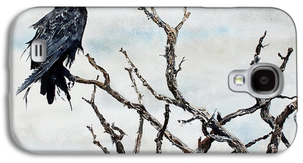 Windblown Paintings Galaxy S4 Cases - Bryces Raven Galaxy S4 Case by Monte Toon