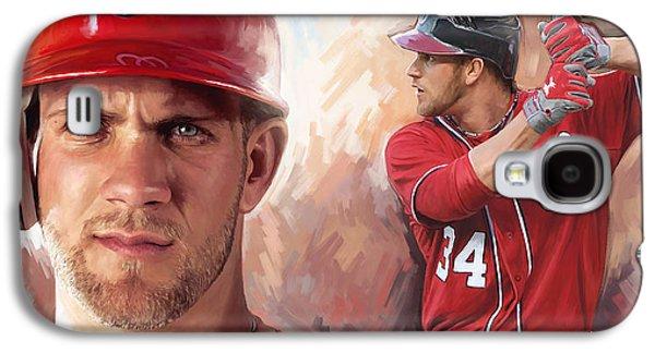 Baseball Art Galaxy S4 Cases - Bryce Harper Artwork Galaxy S4 Case by Sheraz A