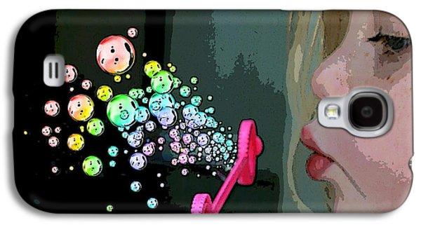 Little Girl Mixed Media Galaxy S4 Cases - Bubble Magic Galaxy S4 Case by Ellen Henneke