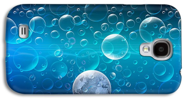 Abstract Digital Mixed Media Galaxy S4 Cases - Bubbling Planet Galaxy S4 Case by Bedros Awak