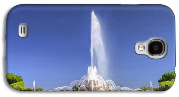 Chicago Paintings Galaxy S4 Cases - Buckingham Fountain Panorama Galaxy S4 Case by Christopher Arndt