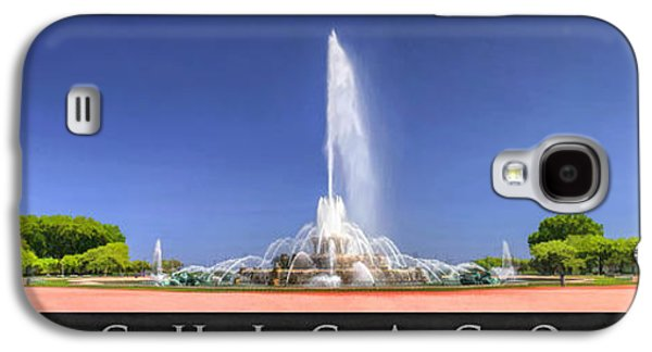 Chicago Paintings Galaxy S4 Cases - Buckingham Fountain Panorama Poster Galaxy S4 Case by Christopher Arndt