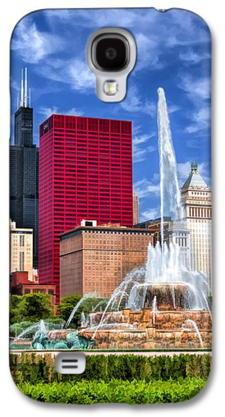 Chicago Paintings Galaxy S4 Cases - Buckingham Fountain Sears Tower Galaxy S4 Case by Christopher Arndt