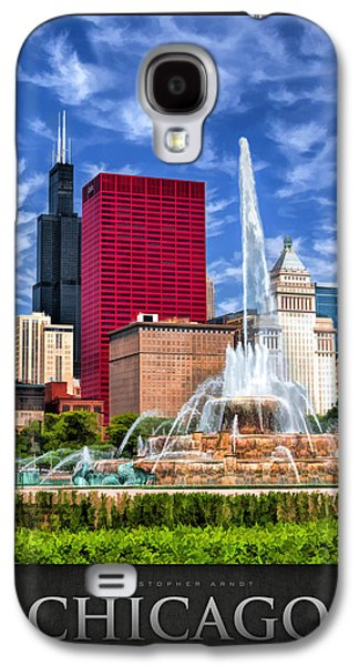 Chicago Paintings Galaxy S4 Cases - Buckingham Fountain Sears Tower Poster Galaxy S4 Case by Christopher Arndt