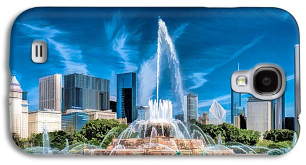 Chicago Paintings Galaxy S4 Cases - Buckingham Fountain Skyline Panorama Galaxy S4 Case by Christopher Arndt