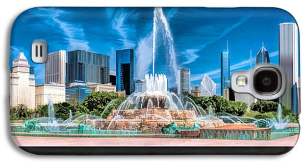 Skylines Paintings Galaxy S4 Cases - Buckingham Fountain Skyline Panorama Poster Galaxy S4 Case by Christopher Arndt