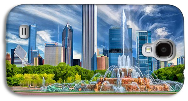 Chicago Paintings Galaxy S4 Cases - Buckingham Fountain Skyscrapers Galaxy S4 Case by Christopher Arndt