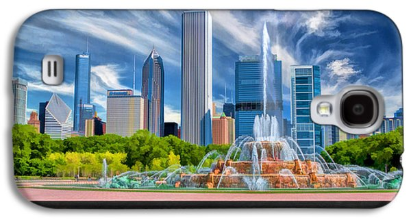 Chicago Paintings Galaxy S4 Cases - Buckingham Fountain Skyscrapers Poster Galaxy S4 Case by Christopher Arndt