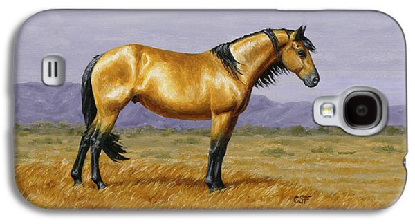 Wild Horse Paintings Galaxy S4 Cases - Buckskin Mustang Stallion Phone Case Galaxy S4 Case by Crista Forest