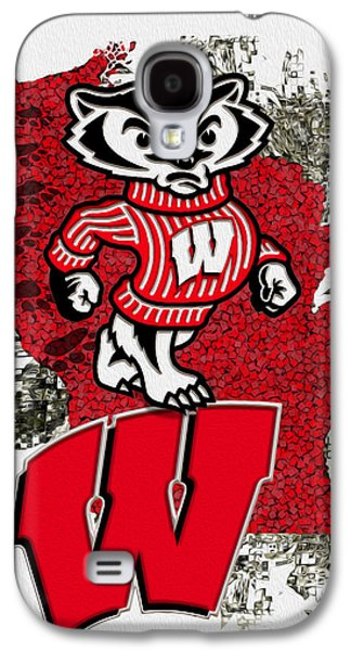 Nfl Galaxy S4 Cases - Bucky Badger University of Wisconsin Galaxy S4 Case by Jack Zulli