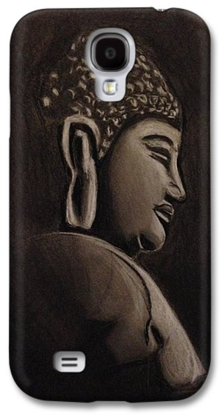 Statue Portrait Drawings Galaxy S4 Cases - Buddha  Galaxy S4 Case by Donetta Jamieson