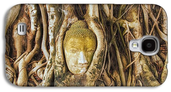 Tree Roots Pyrography Galaxy S4 Cases - Buddha Takes Root Galaxy S4 Case by Karen Block