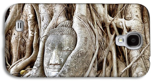 Statue Portrait Galaxy S4 Cases - Buddha Head in Tree Wat Mahathat Ayutthaya  Thailand Galaxy S4 Case by Fototrav Print