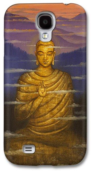 Tibetan Buddhism Galaxy S4 Cases - Buddha. Passing clouds Galaxy S4 Case by Vrindavan Das