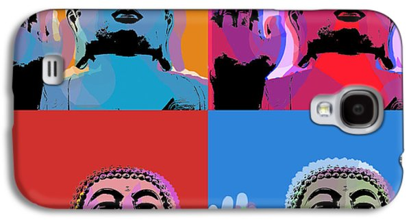 Siddharta Galaxy S4 Cases - Buddha Pop Art - 4 panels Galaxy S4 Case by Jean luc Comperat