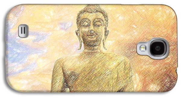 Thought Drawings Galaxy S4 Cases - Buddha Galaxy S4 Case by Taylan Soyturk