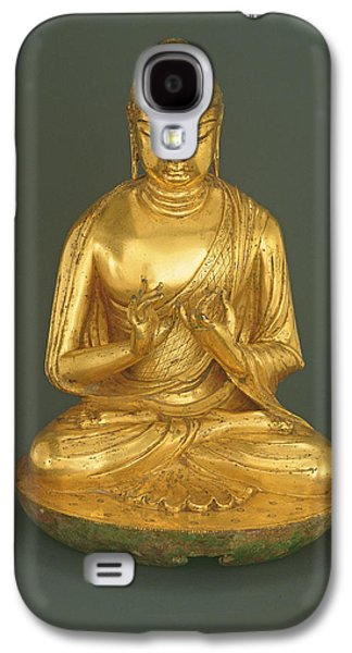 Seated Galaxy S4 Cases - Buddha Vairocana Dari, Tang Dynasty 618-907, Early 8th Century Gilt Leaded Bronze Galaxy S4 Case by Chinese School
