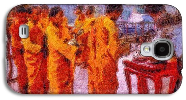 Photo Manipulation Paintings Galaxy S4 Cases - Buddhist Monks Feeding Hour Galaxy S4 Case by Mario Carini