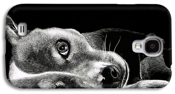 Dog Close-up Paintings Galaxy S4 Cases - Buddy Galaxy S4 Case by Bryan Horn