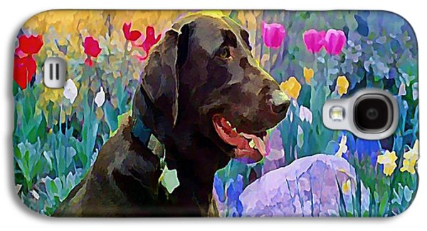 Chocolate Lab Digital Art Galaxy S4 Cases - Buddy in Heaven Galaxy S4 Case by Anne Sterling