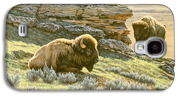 Bison Paintings Galaxy S4 Cases - Buffalo at Soda Butte Galaxy S4 Case by Paul Krapf