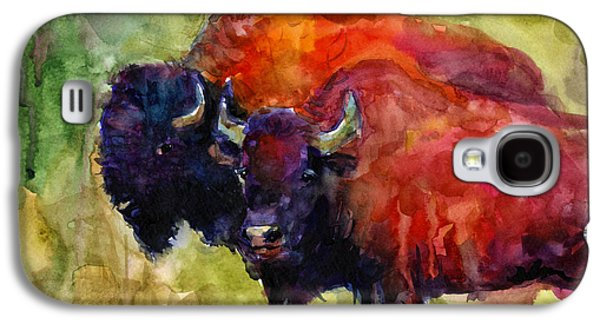 Bison Drawings Galaxy S4 Cases - Buffalo Bisons painting Galaxy S4 Case by Svetlana Novikova