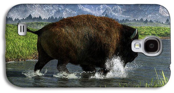 Bison Digital Art Galaxy S4 Cases - Buffalo Crossing a River Galaxy S4 Case by Daniel Eskridge
