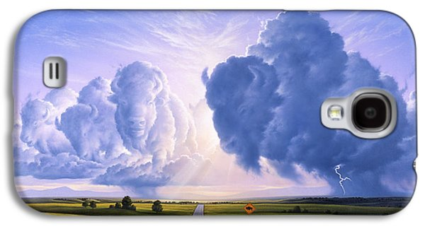 Bison Paintings Galaxy S4 Cases - NATO Buffalo Crossing Galaxy S4 Case by Jerry LoFaro