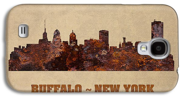 Skylines Mixed Media Galaxy S4 Cases - Buffalo New York City Skyline Rusty Metal Shape on Canvas Galaxy S4 Case by Design Turnpike