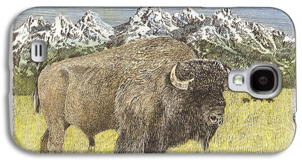 Bison Mixed Media Galaxy S4 Cases - Buffalo of Yellowstone National Park Galaxy S4 Case by Jack Pumphrey
