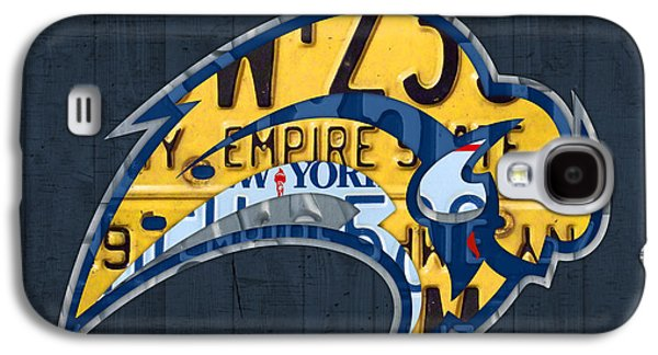 Hockey Mixed Media Galaxy S4 Cases - Buffalo Sabres Hockey Team Retro Logo Vintage Recycled New York License Plate Art Galaxy S4 Case by Design Turnpike