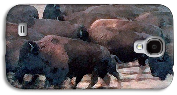 Stampede Digital Art Galaxy S4 Cases - Buffalo Stampede Galaxy S4 Case by George Pedro