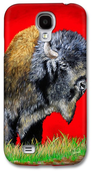 Bison Paintings Galaxy S4 Cases - Buffalo Warrior Galaxy S4 Case by Teshia Art
