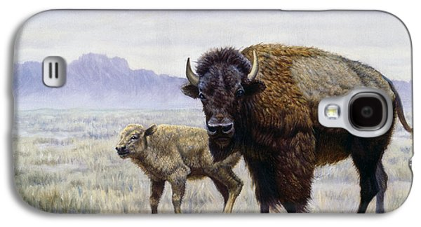 Western Art Digital Art Galaxy S4 Cases - Buffalo Watering Hole Galaxy S4 Case by Gregory Perillo