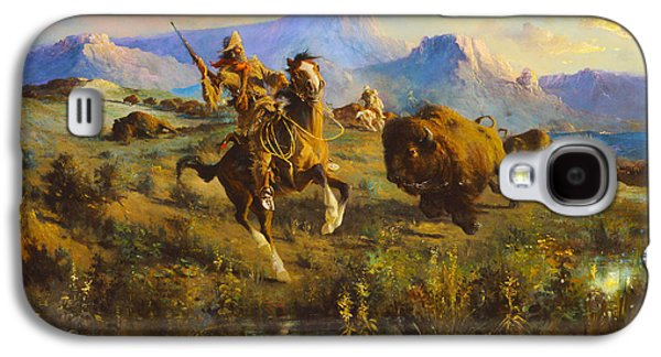 Bison Digital Galaxy S4 Cases - Buffalo_Hunt Galaxy S4 Case by Edgar Samuel Paxson
