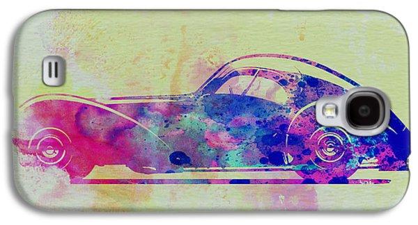 Old Car Drawings Galaxy S4 Cases - Bugatti Atlantic Watercolor 3 Galaxy S4 Case by Naxart Studio