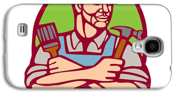 Linoleum Print Galaxy S4 Cases - Builder Carpenter Paintbrush Hammer Linocut Galaxy S4 Case by Aloysius Patrimonio