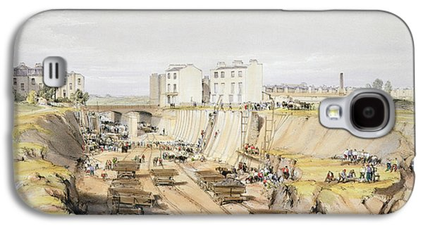 Industrial Drawings Galaxy S4 Cases - Building The Retaining Wall Near Park Galaxy S4 Case by John Cooke Bourne