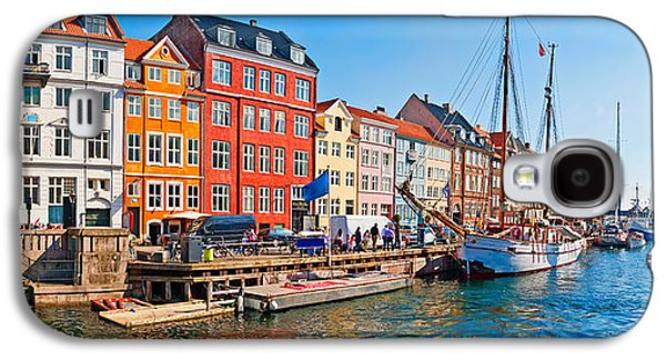 Sailboats In Harbor Galaxy S4 Cases - Buildings Along A Canal With Boats Galaxy S4 Case by Panoramic Images