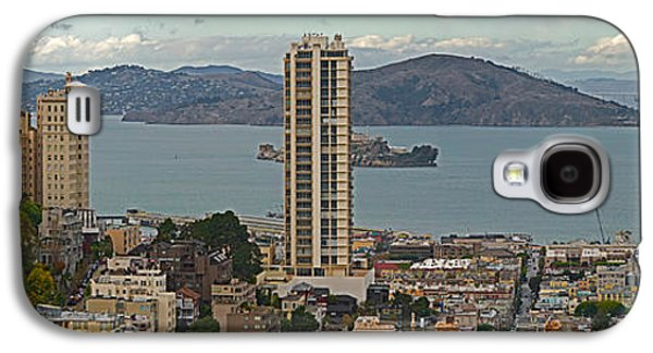 Alcatraz Photographs Galaxy S4 Cases - Buildings In A City With Alcatraz Galaxy S4 Case by Panoramic Images