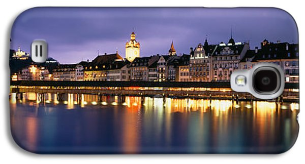 Lucerne Galaxy S4 Cases - Buildings Lit Up At Dusk, Chapel Galaxy S4 Case by Panoramic Images