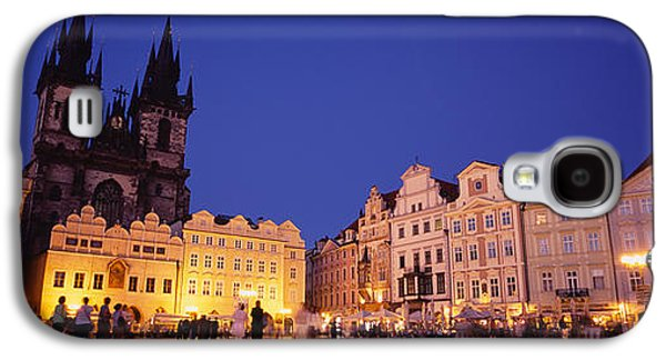 Town Square Galaxy S4 Cases - Buildings Lit Up At Dusk, Prague Old Galaxy S4 Case by Panoramic Images