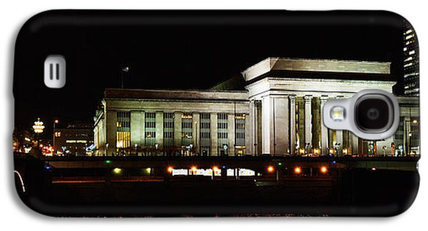 Schuylkill Galaxy S4 Cases - Buildings Lit Up At Night At A Railroad Galaxy S4 Case by Panoramic Images