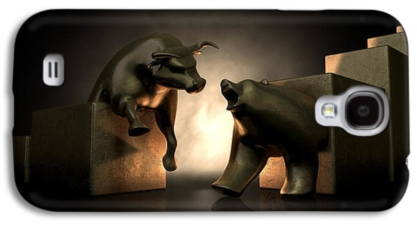 Finance Galaxy S4 Cases - Bull And Bear Market Statues Galaxy S4 Case by Allan Swart