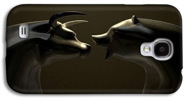 Finance Galaxy S4 Cases - Bull And Bear Market Trend Bronze Castings Galaxy S4 Case by Allan Swart