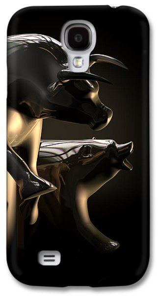 Bull Digital Art Galaxy S4 Cases - Bull And Bear Stock Market Statues Galaxy S4 Case by Allan Swart