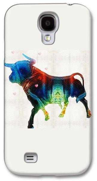 Bull Art - Love A Bull 2 - By Sharon Cummings Galaxy S4 Case by Sharon Cummings